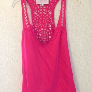 Rory Beca pink asymmetrical tank with cut outs